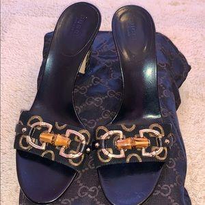 Auth Gucci Black Horsebit heels Bamboo slides